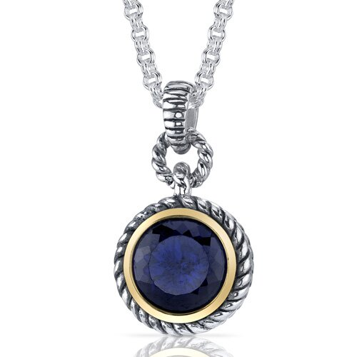 Portuguese Cut 5.00 Carats Blue Sapphire Twisted Cable Pendant in Sterling Silver