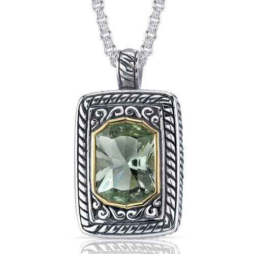 Baroness Cut 5.50 Carats Green Amethyst Locket Style Pendant in Sterling Silver