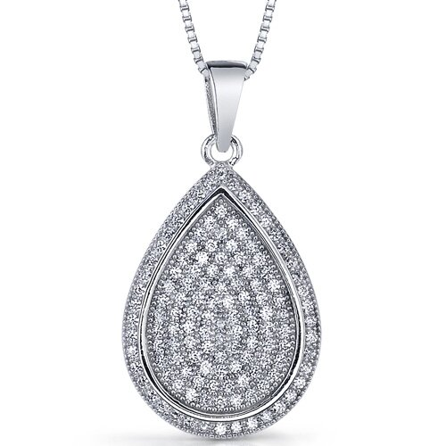 Sea of Sparkle Micro Pave Cubic Zirconia Flat Tear Drop Pendant in Sterling Silver