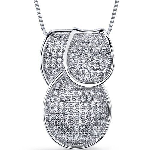 Flamboyant Overlapping Loops of Dazzle Micro Pave Cubic Zirconia Tri-Sectional Pendant in ...