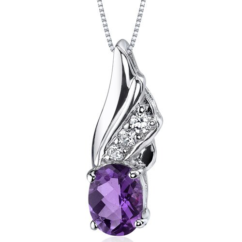 Graceful Angel 1.00 Carat Oval Shape Amethyst Pendant in Sterling Silver