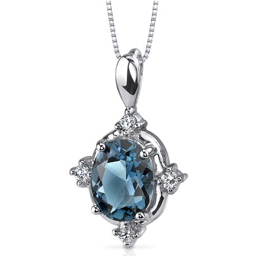 Stunning Classic 2.00 Carats Oval Shape London Blue Topaz Pendant in Sterling Silver