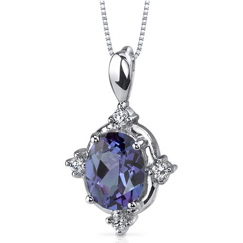 Stunning Classic 2.50 Carats Oval Shape Alexandrite Pendant in Sterling Silver