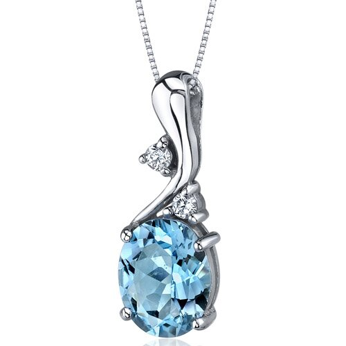 Illuminating Sophistication 3.00 Carats Oval Shape Swiss Blue Topaz Pendant in Sterling Silver