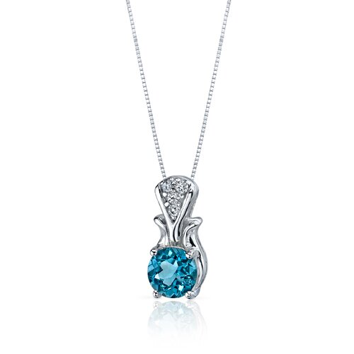 Oravo Regal Radiance 1.50 Carats Round Shape London Blue Topaz Pendant in Sterling Silver