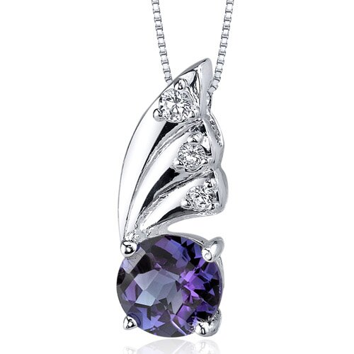 Sublime Elegance 1.75 Carats Round Shape Alexandrite Pendant in Sterling Silver