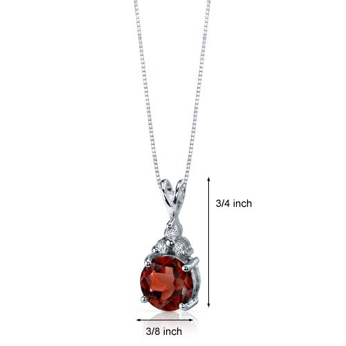 Oravo Refined Class 2.50 Carats Round Shape Garnet Pendant in Sterling Silver