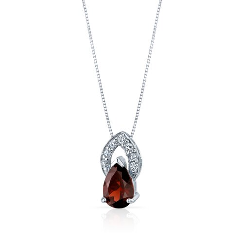 Oravo Captivating Allure 1.50 Carats Pear Shape Garnet Pendant in Sterling Silver