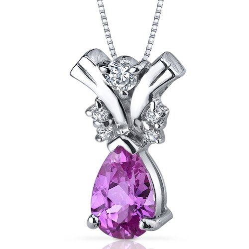 Gallantly Exotic 1.75 Carats Pear Shape Pink Sapphire Pendant in Sterling Silver