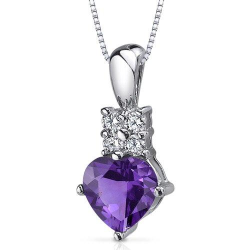 Captivating Love 1.00 Carat Heart Shape Amethyst Pendant in Sterling Silver