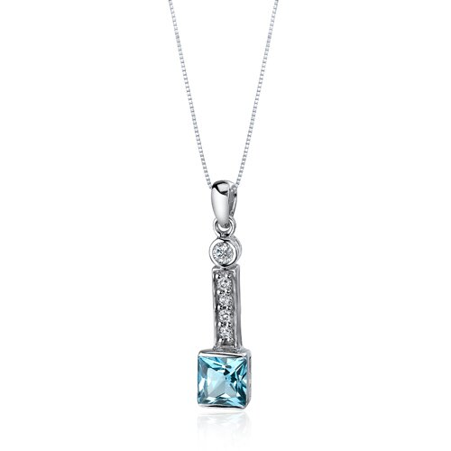 Oravo Sparkling 2.00 Carats Princess Cut Sterling Silver Swiss Blue Topaz Pendant in Sterling Silver