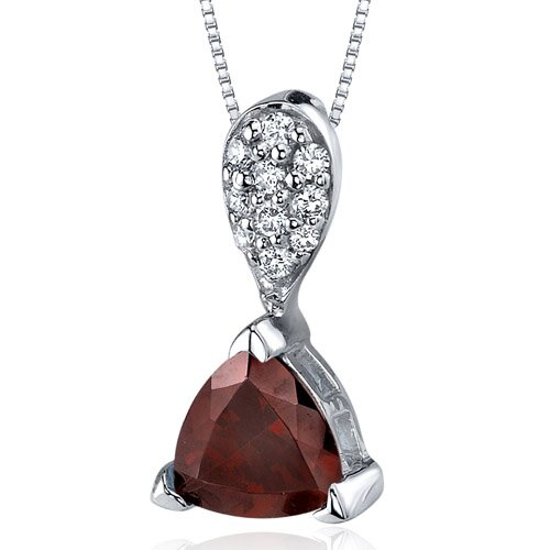 Sleek Shimmer 1.50 Carats Trillion Cut Sterling Silver Garnet Pendant in Sterling Silver
