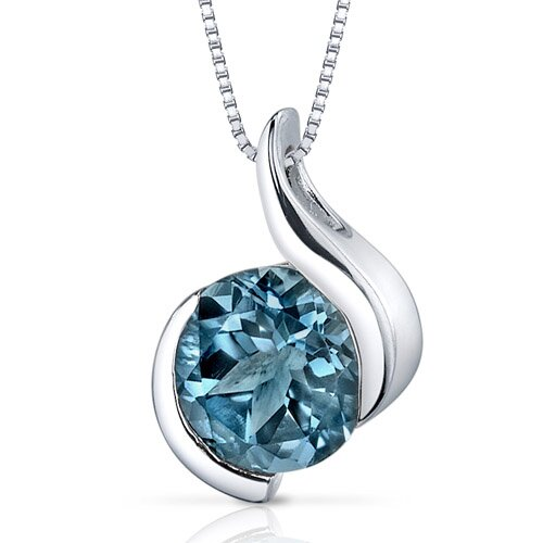 Oravo Stunning Sophistication 2.25 Carats Round Shape London Blue Topaz Pendant in Sterling Silver
