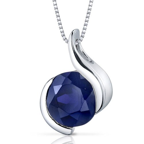 Stunning Sophistication 2.75 Carats Round Shape Blue Sapphire Pendant in Sterling Silver