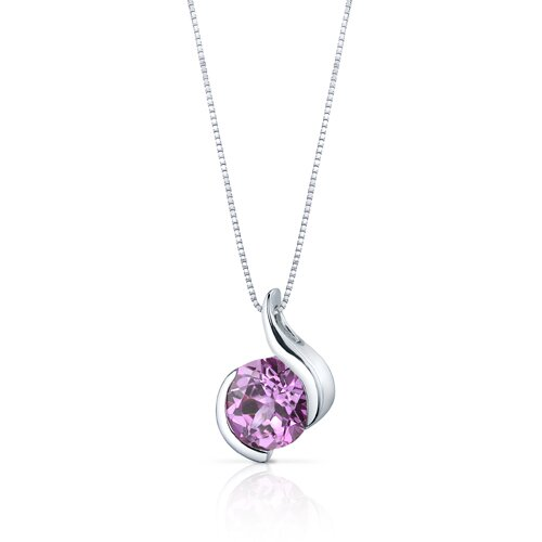 Oravo Stunning Sophistication 2.50 Carats Round Shape Pink Sapphire Pendant in Sterling Silver