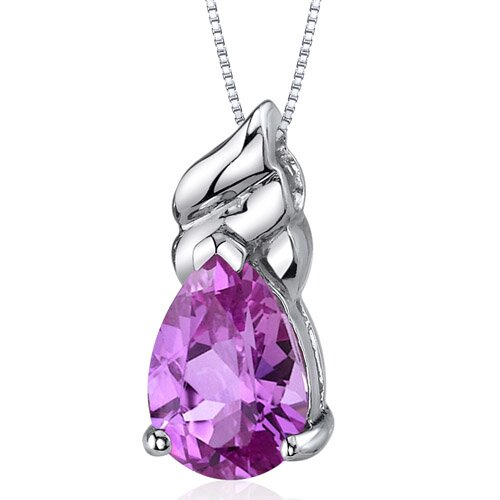 Dashing 3.75 Carats Pear Shape Pink Sapphire Pendant in Sterling Silver