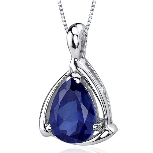 Enchanting Elegance 2.50 Carats Pear Shape Blue Sapphire Pendant in Sterling Silver