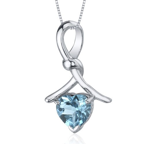 Charming Spiral 2.00 Carats Heart Shape Swiss Blue Topaz Pendant in Sterling Silver