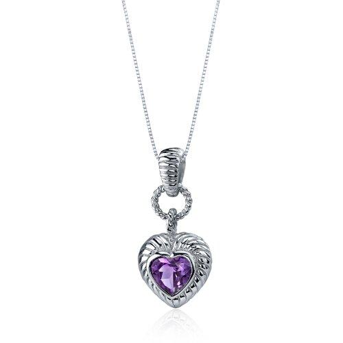 Oravo Gallant Love 1.00 Carats Heart Shape Sterling Silve Amethyst Pendant in Sterling Silve