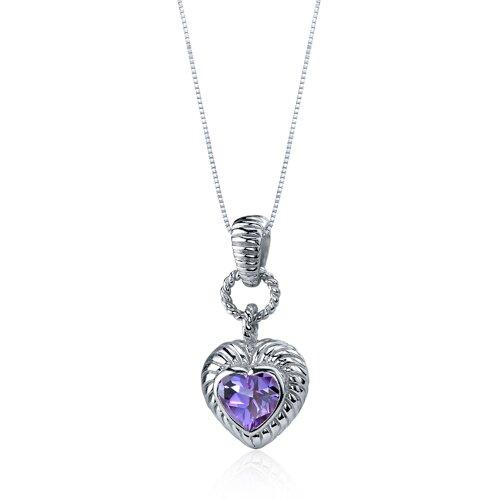 Oravo Gallant Love 1.75 Carats Heart Shape Alexandrite Pendant in Sterling Silve