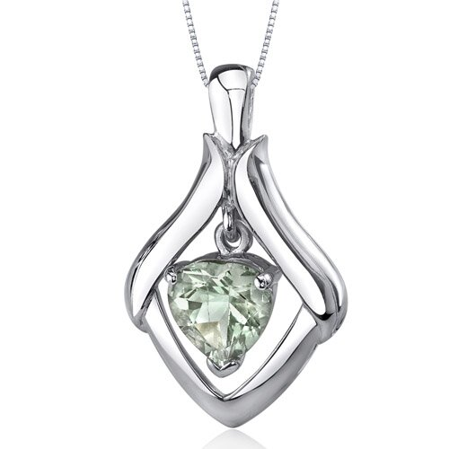Exuberant Love 2.25 Carats Heart Shape Green Amethyst Pendant in Sterling Silve