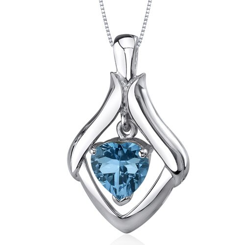 Exuberant Love 3.00 Carats Heart Shape London Blue Topaz Pendant in Sterling Silve