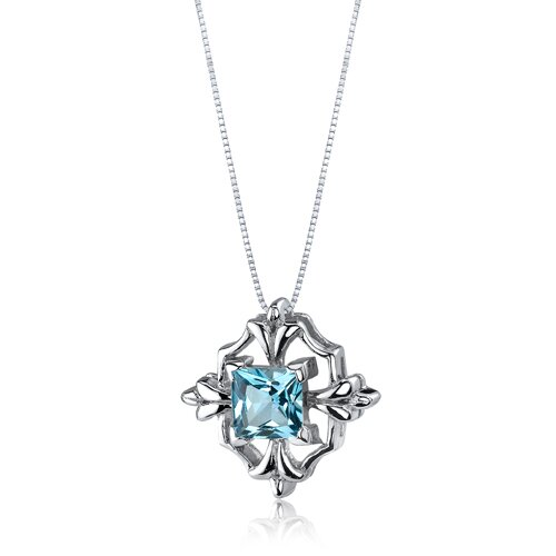 Oravo Captivating Brilliance 1.25 Carats Princess Cut Swiss Blue Topaz Pendant in Sterling Silve