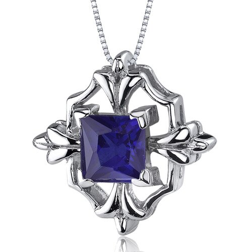 Captivating Brilliance 1.50 Carats Princess Cut Blue Sapphire Pendant in Sterling Silve