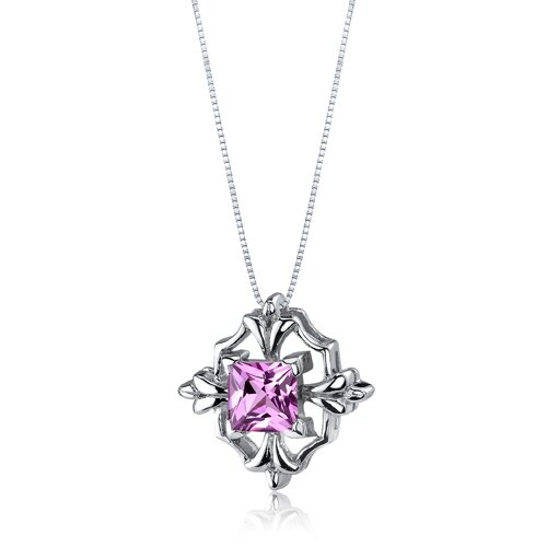 Oravo Captivating Brilliance 1.50 Carats Princess Cut Pink Sapphire Pendant in Sterling Silve