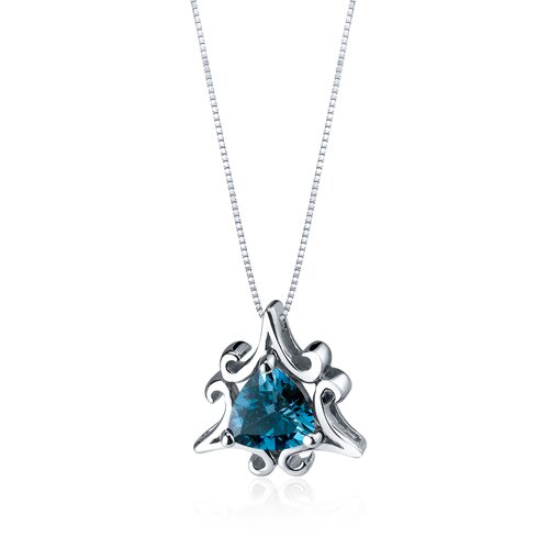Oravo Radiant Waves 1.50 Carats Trillion Cut London Blue Topaz Pendant in Sterling Silve