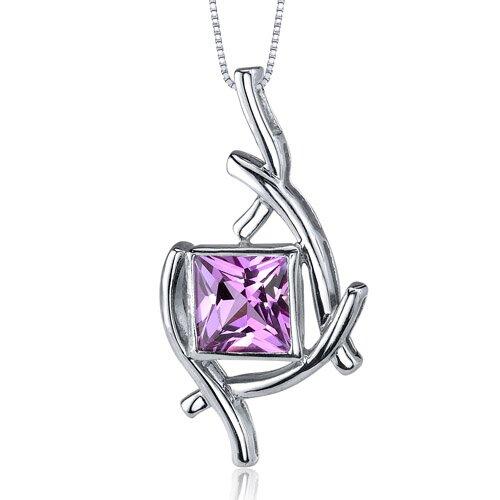 Artistic Design 2.25 Carats Princess Cut Pink Sapphire Pendant in Sterling Silve