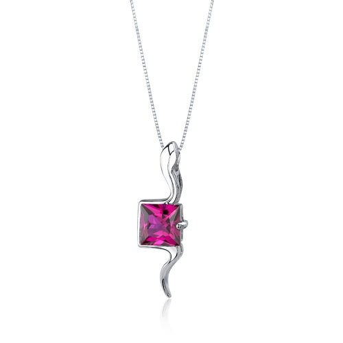 Oravo Vivid Grace 2.25 Carats Princess Cut Ruby Pendant in Sterling Silve