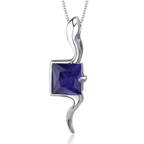Vivid Grace 2.25 Carats Princess Cut Blue Sapphire Pendant in Sterling Silve