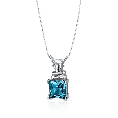 Oravo Boldly Regal 2.75 Carats Princess Cut London Blue Topaz Pendant in Sterling Silve