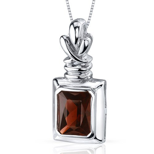 Marvelous 2.75 Carats Radiant Cut Garnet Pendant in Sterling Silve