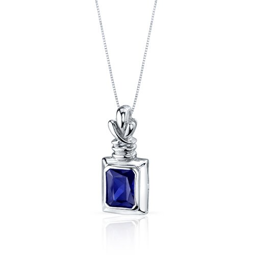 Oravo Marvelous 3.00 Carats Radiant Cut Blue Sapphire Pendant in Sterling Silve
