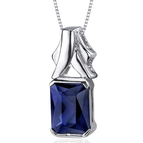 Lucid Elegance 3.00 Carats Radiant Cut Blue Sapphire Pendant in Sterling Silve