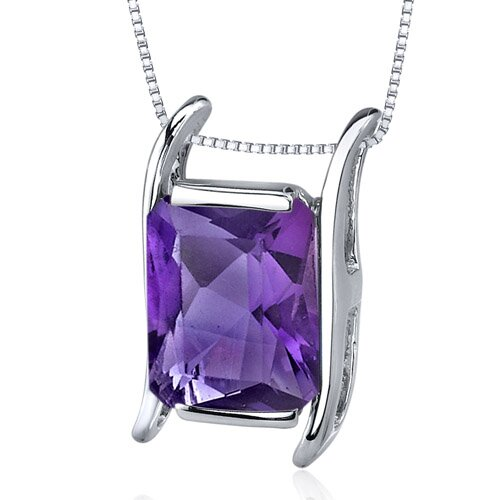 Striking Colo2.75 Carats Radiant Cut Amethyst Pendant in Sterling Silve