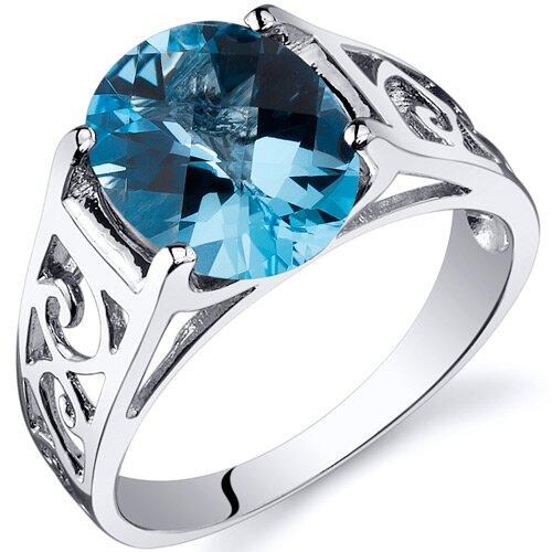 Oravo Checkerboard Cut 3.50 carats Solitiare Ring in Sterling Silver