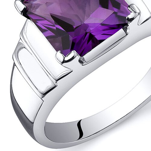 Oravo Step Design Princess Cut 3.25 carats Ring in Sterling Silver
