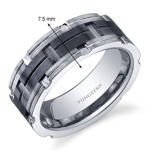 Oravo Brushed Finished Mosaic Design Center Black Band 7mm Comfort Fit Mens Tungsten Carbide Wedding Band Ring