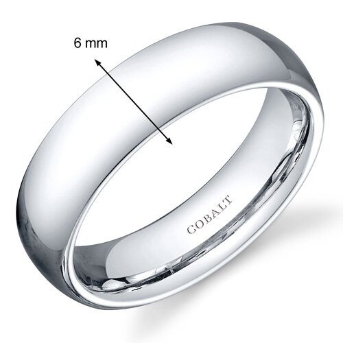 Oravo Traditional 6mm Comfort Fit Platinum Finish Mens Cobalt Wedding Band Ring