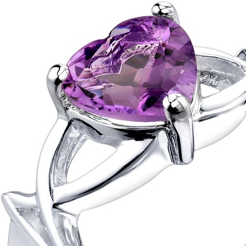 Oravo 1.50 carats Heart Shape Amethyst Ring in Sterling Silver