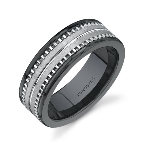 Flat Edge 7 mm Comfort Fit Mens Black Ceramic and Tungsten Combination Wedding Band Ring ...