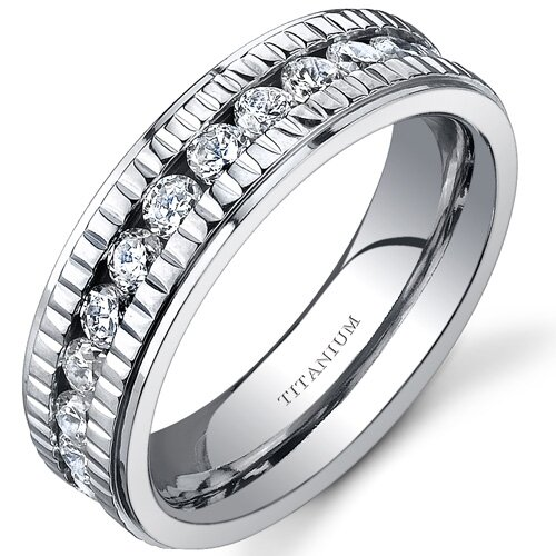 Oravo Notched Design Womens 6 mm Titanium Eternity Band