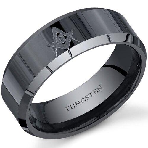 Masonic Gateway Symbol 8 mm Comfort Fit Mens Black Tungsten Wedding Band Ring