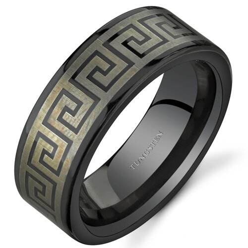 Oravo Greek Key Motif 8 mm Comfort Fit Mens Black Tungsten Wedding Band Ring Size