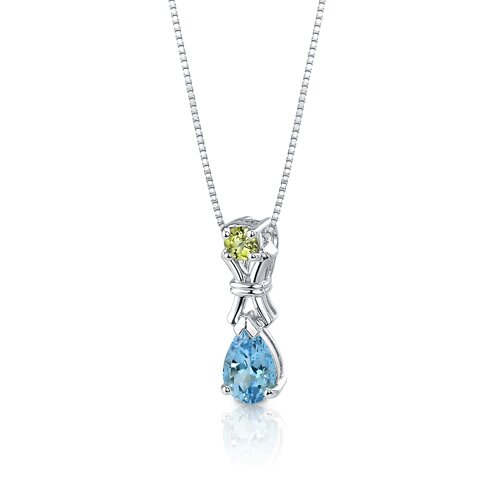 Oravo 4.00 cts Round Peridot Pear Swiss Topaz Pendant Earrings in Sterling Silver Free 18 inch Necklace