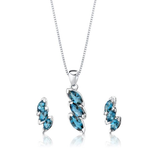 3.75 cts Marquise Cut London Blue Topaz Pendant Earrings in Sterling Silver Free 18 inch ...
