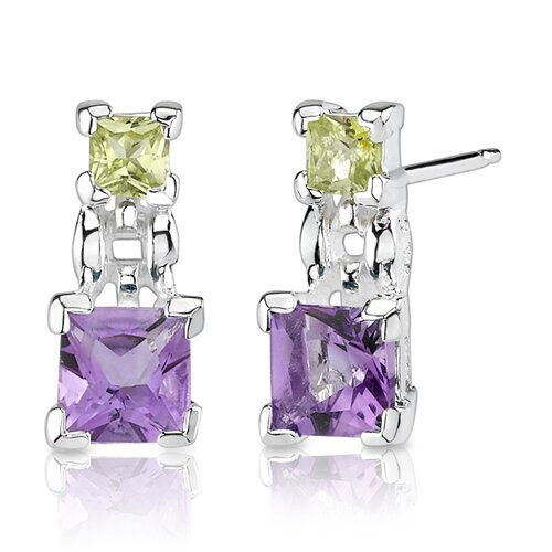 Oravo 2.50 cts Princess Cut Peridot Amethyst Pendant Earrings in Sterling Silver Free 18 inch Necklace
